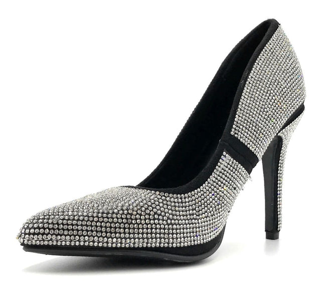 Forever Link Event-92 Black/Silver Color Pumps Left Side view, Women Shoes