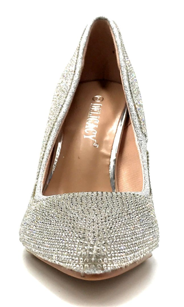Forever Link Event-92 Silver Color Pumps Front View, Women Shoes