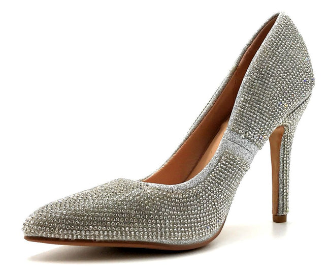 Forever Link Event-92 Silver Color Pumps Left Side view, Women Shoes