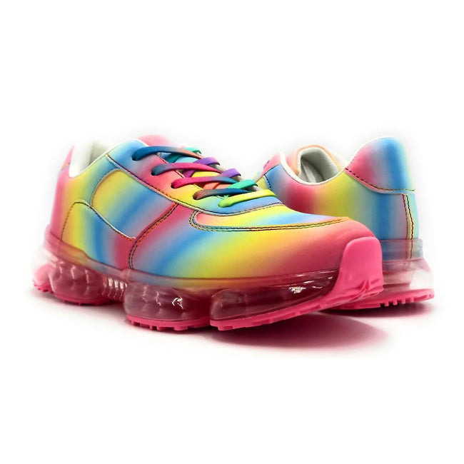 Forever Link Flow-19 Rainbow Color Fashion Sneaker Both Shoes together, Women Shoes