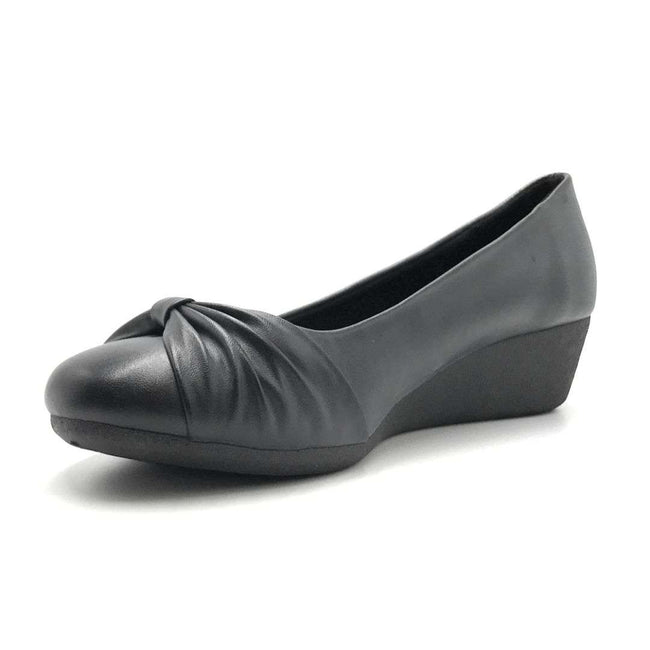 Forever Link Legosa-09 Black PU Color Wedge Shoes for Women