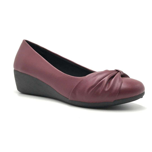 Forever Link Legosa-09 Wine PU Color Wedge Shoes for Women