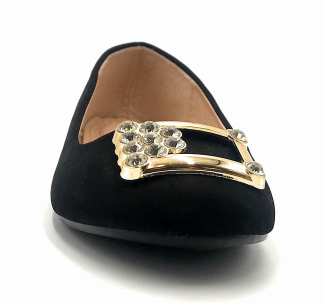 Forever Link Marina-04 Black Color Ballerina Front View, Women Shoes