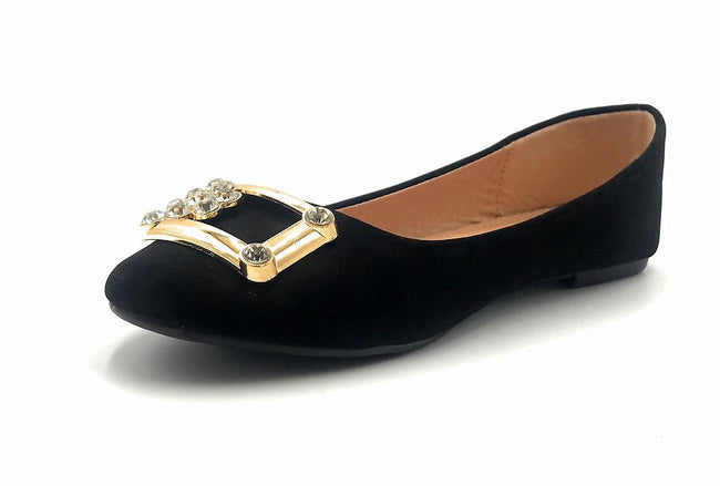 Forever Link Marina-04 Black Color Ballerina Left Side view, Women Shoes