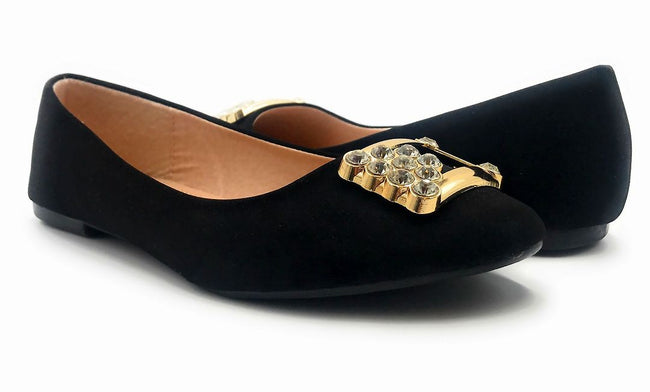 Forever Link Marina-04 Black Color Ballerina Both Shoes together, Women Shoes