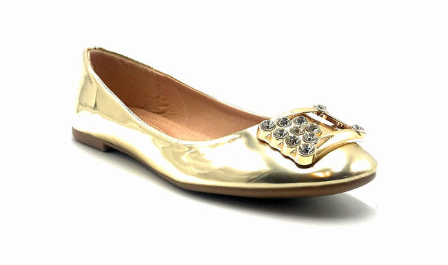 Forever Link Marina-04 Gold Color Ballerina Right Side View, Women Shoes