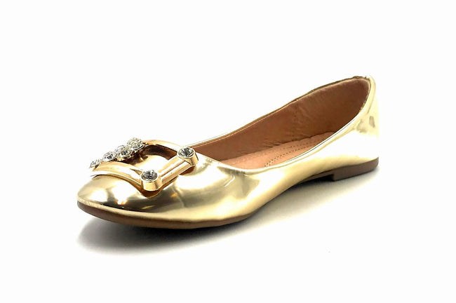 Forever Link Marina-04 Gold Color Ballerina Left Side view, Women Shoes