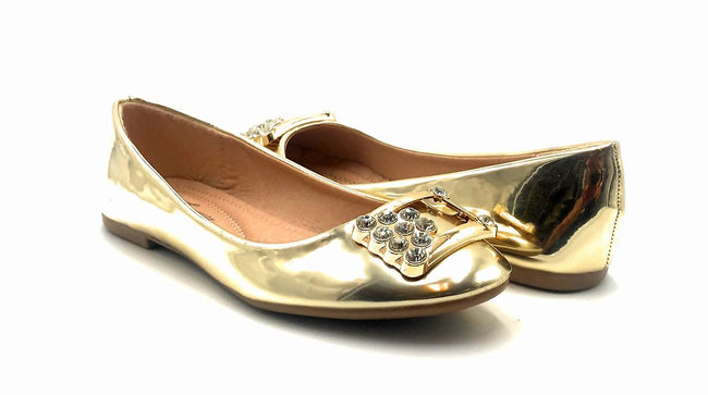 Forever Link Marina-04 Gold Color Ballerina Both Shoes together, Women Shoes