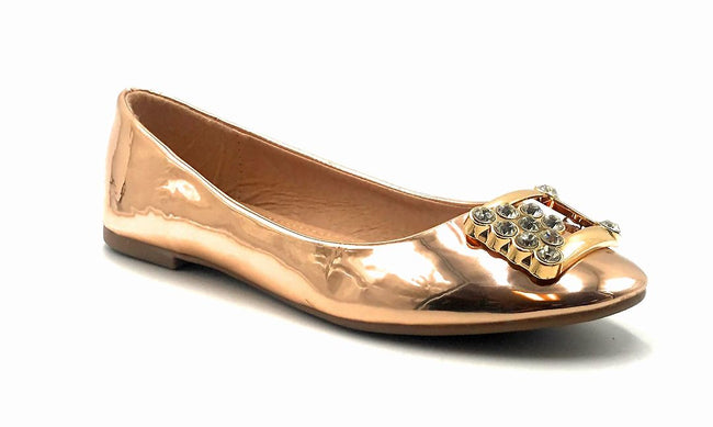 Forever Link Marina-04 Rose Gold Color Ballerina Front View, Women Shoes
