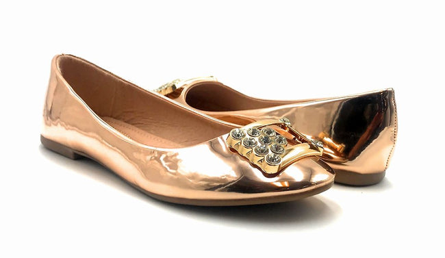 Forever Link Marina-04 Rose Gold Color Ballerina Both Shoes together, Women Shoes