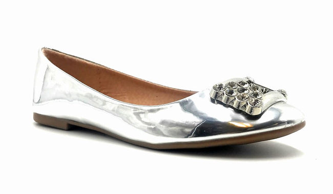 Forever Link Marina-04 Silver Color Ballerina Right Side View, Women Shoes