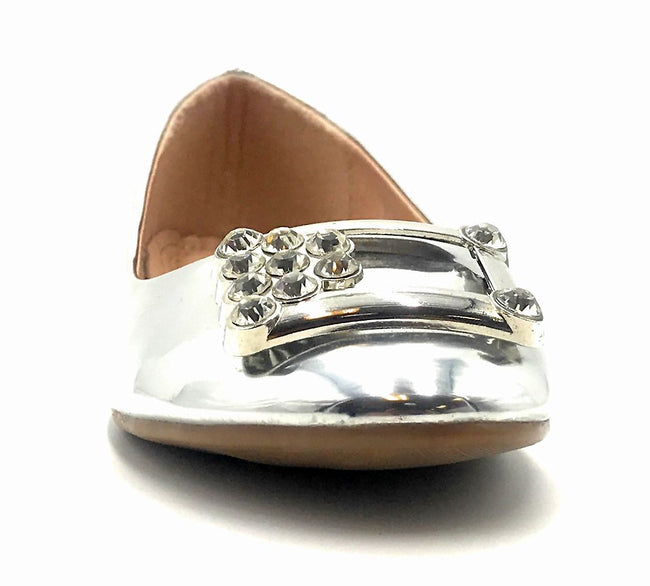 Forever Link Marina-04 Silver Color Ballerina Front View, Women Shoes
