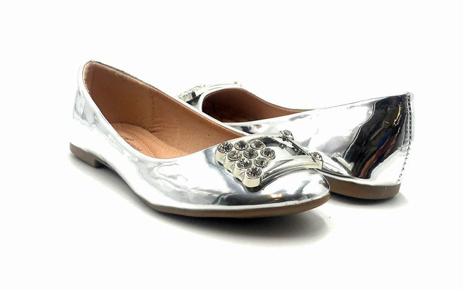 Forever Link Marina-04 Silver Color Ballerina Both Shoes together, Women Shoes