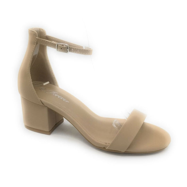 Forever Link Nataly-06 Taupe Nub Color Heels Shoes for Women