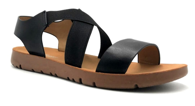 Forever Link Reform-53 Black Color Flat-Sandals Right Side View, Women Shoes