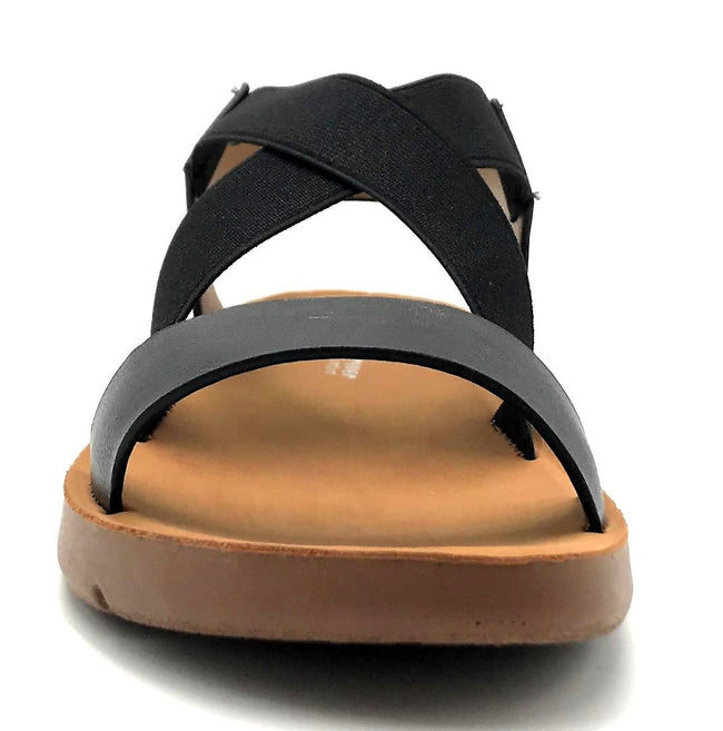 Forever Link Reform-53 Black Color Flat-Sandals Front View, Women Shoes