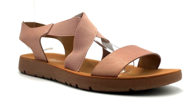Forever Link Reform-53 Pink Color Flat-Sandals Right Side View, Women Shoes