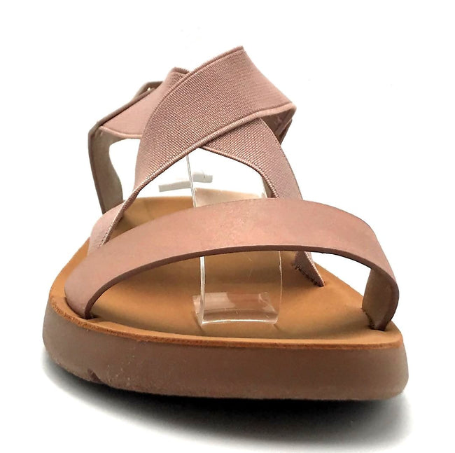 Forever Link Reform-53 Pink Color Flat-Sandals Front View, Women Shoes