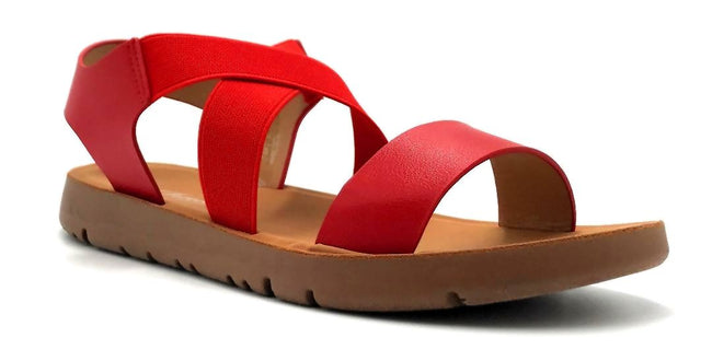 Forever Link Reform-53 Red Color Flat-Sandals Right Side View, Women Shoes