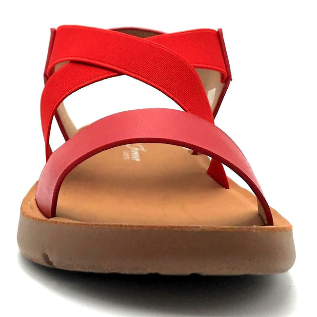 Forever Link Reform-53 Red Color Flat-Sandals Front View, Women Shoes