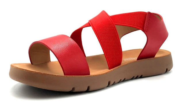 Forever Link Reform-53 Red Color Flat-Sandals Left Side view, Women Shoes