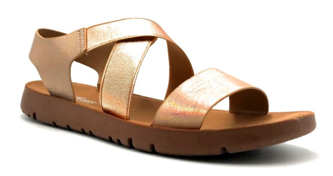 Forever Link Reform-53 Rose Gold Color Flat-Sandals Right Side View, Women Shoes
