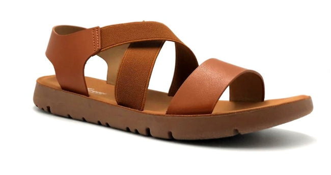 Forever Link Reform-53 Tan Color Flat-Sandals Right Side View, Women Shoes