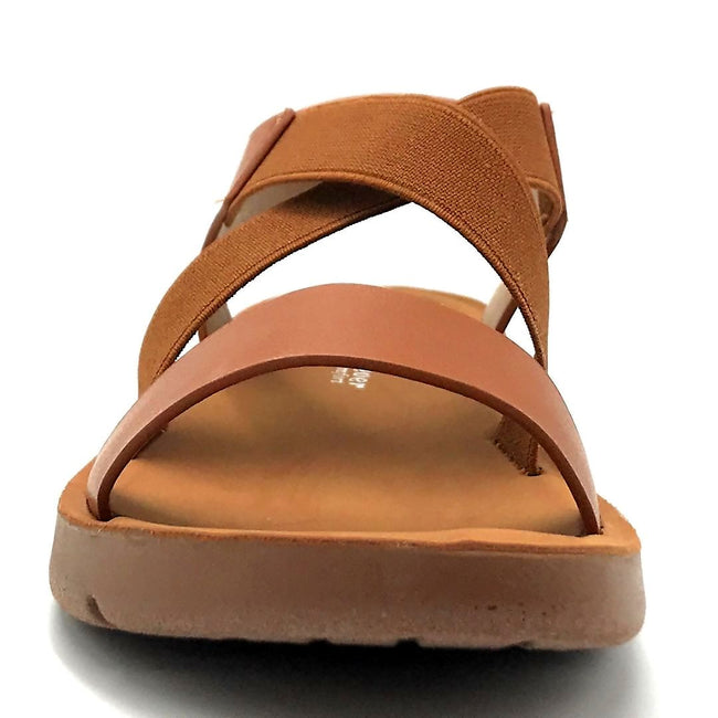 Forever Link Reform-53 Tan Color Flat-Sandals Front View, Women Shoes