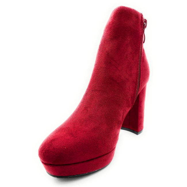 Forever Link Serlin-66 Burgundy Color Boots Left Side view, Women Shoes