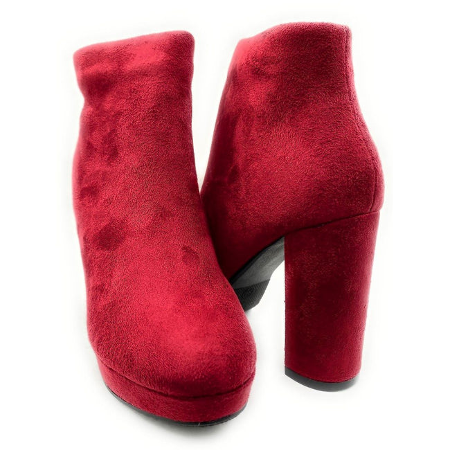 Forever Link Serlin-66 Burgundy Color Boots Both Shoes together, Women Shoes