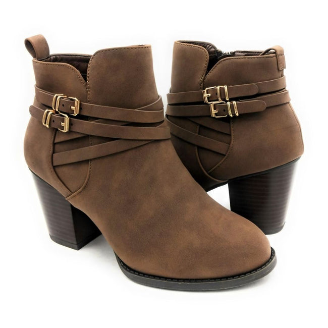 Forever Link Sosanna-1 Brown Color Boots Left Side view, Women Shoes