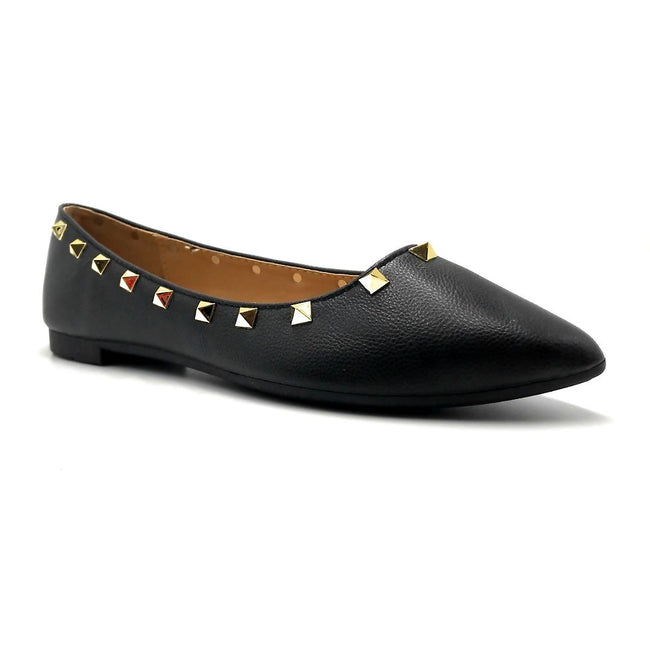 Forever Link Stella-12 Black Color Ballerina Right Side View, Women Shoes