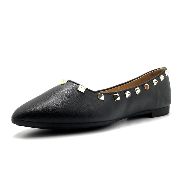 Forever Link Stella-12 Black Color Ballerina Left Side view, Women Shoes