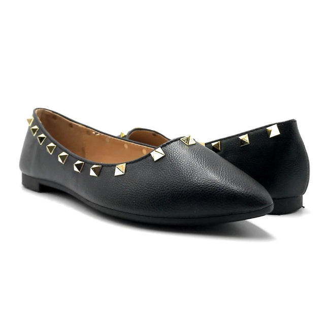 Forever Link Stella-12 Black Color Ballerina Both Shoes together, Women Shoes