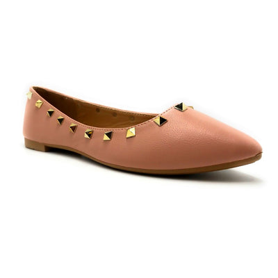 Forever Link Stella-12 Blush Color Ballerina Right Side View, Women Shoes