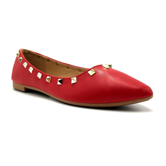Forever Link Stella-12 Red Color Ballerina Right Side View, Women Shoes