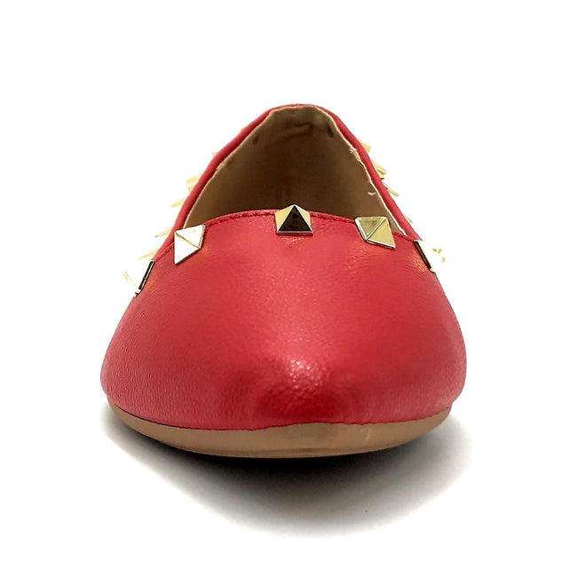 Forever Link Stella-12 Red Color Ballerina Front View, Women Shoes