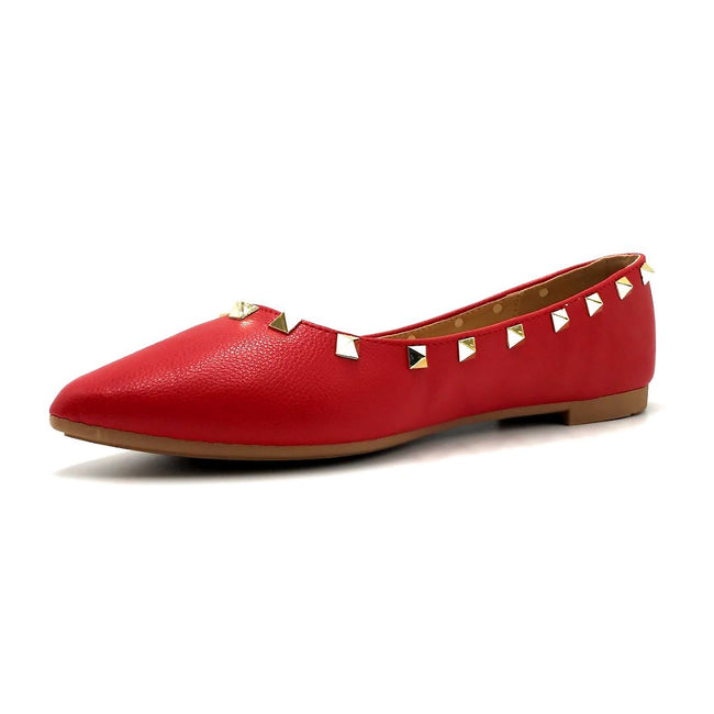 Forever Link Stella-12 Red Color Ballerina Left Side view, Women Shoes
