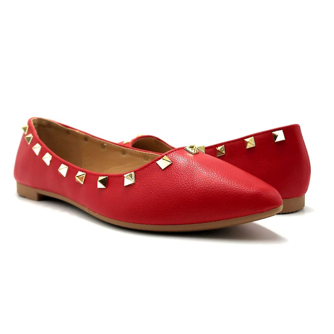 Forever Link Stella-12 Red Color Ballerina Both Shoes together, Women Shoes