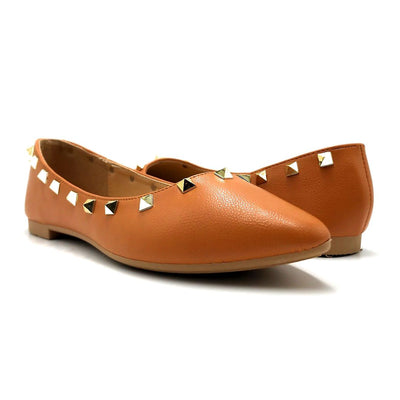 Forever Link Stella-12 Tan Color Ballerina Both Shoes together, Women Shoes