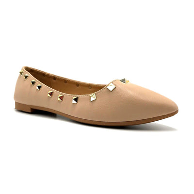 Forever Link Stella-12 Taupe Color Ballerina Right Side View, Women Shoes