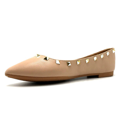 Forever Link Stella-12 Taupe Color Ballerina Left Side view, Women Shoes