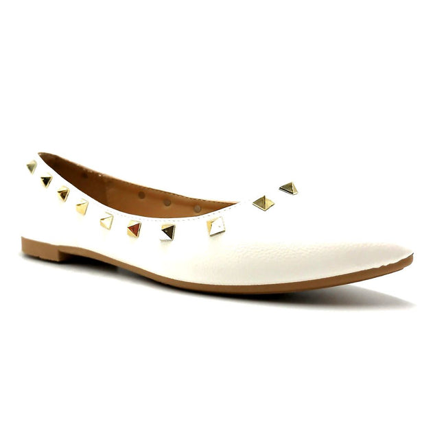 Forever Link Stella-12 White Color Ballerina Right Side View, Women Shoes