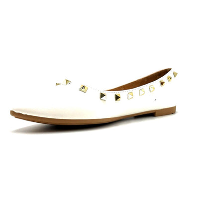 Forever Link Stella-12 White Color Ballerina Left Side view, Women Shoes