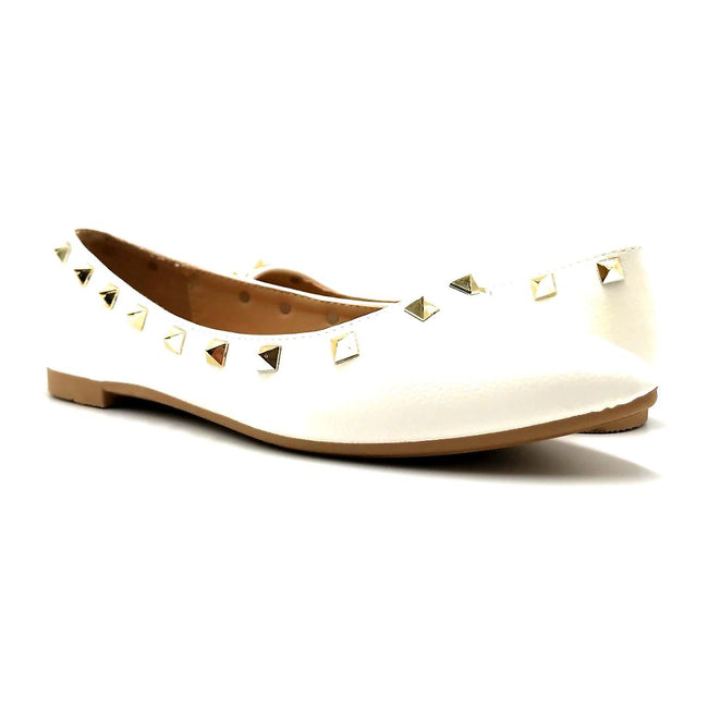 Forever Link Stella-12 White Color Ballerina Both Shoes together, Women Shoes