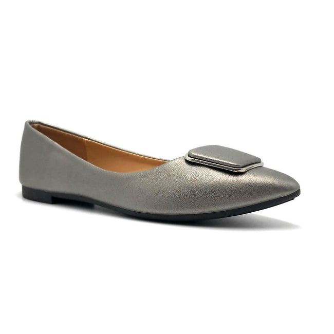 Forever Link Stella-54 Pewter Color Ballerina Right Side View, Women Shoes