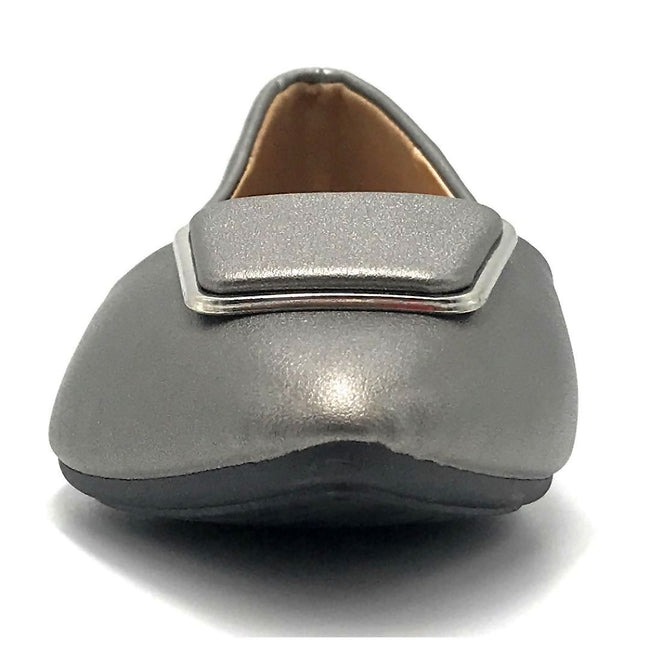 Forever Link Stella-54 Pewter Color Ballerina Front View, Women Shoes