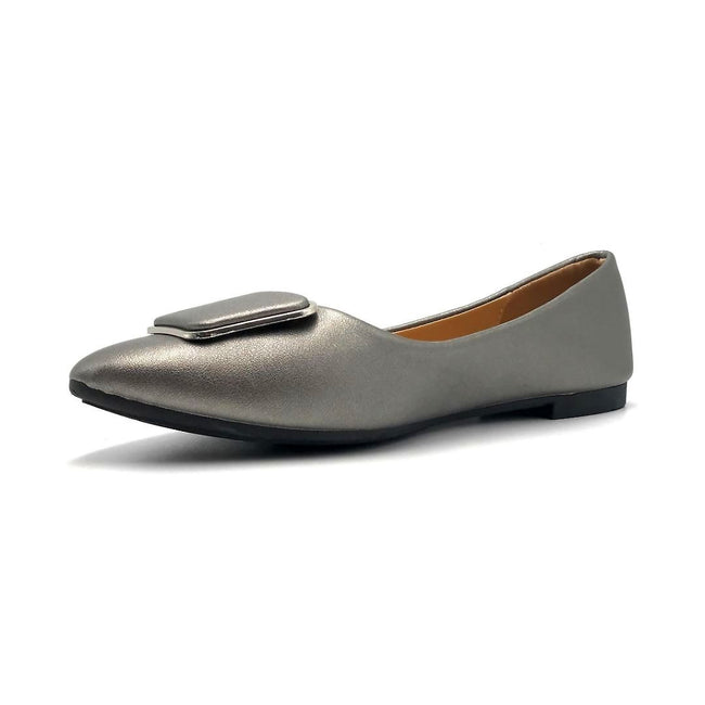 Forever Link Stella-54 Pewter Color Ballerina Left Side view, Women Shoes