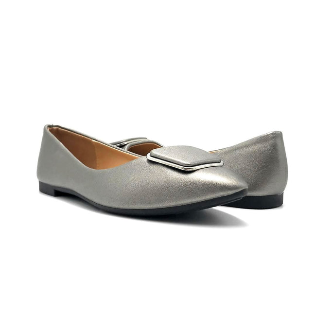 Forever Link Stella-54 Pewter Color Ballerina Both Shoes together, Women Shoes