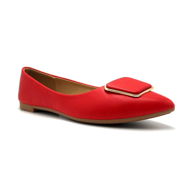 Forever Link Stella-54 Red Color Ballerina Right Side View, Women Shoes